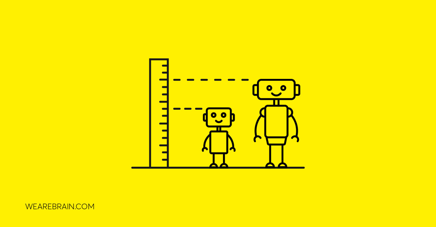 illustration of a small and a big robot next to a ruler