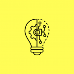 illustration of a lightbulb with gears and circuits inside
