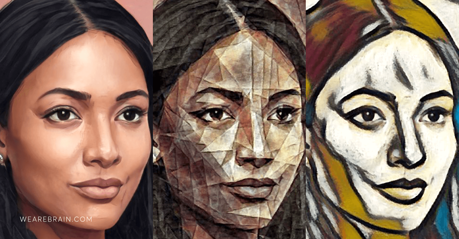 three AI generated portraits of a woman
