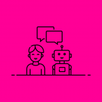 illustration of a person chatting with a robot