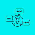 illustration of a woman saying 'hello' in three different languages