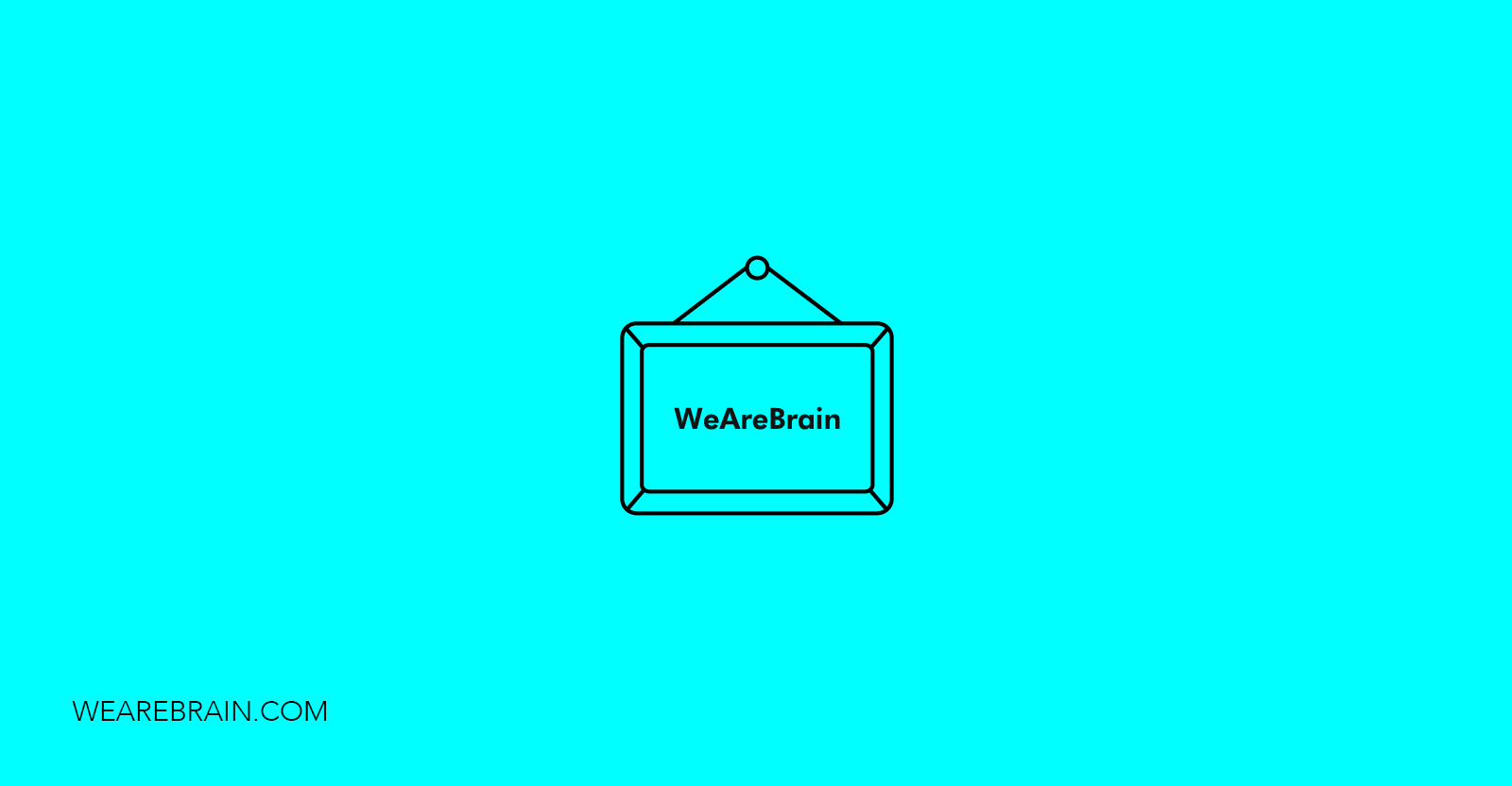 icon if a hanging sign saying 'WeAreBrain'