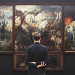 picture of a man looking at a painting