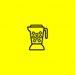 icon of a blender with ice cubes inside