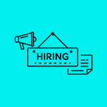 icon of a sign with the word 'Hiring'
