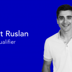 picture of guy wearing a white polo on a blue background