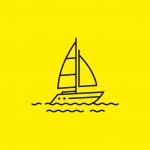 drawn illustration of a sailing boat