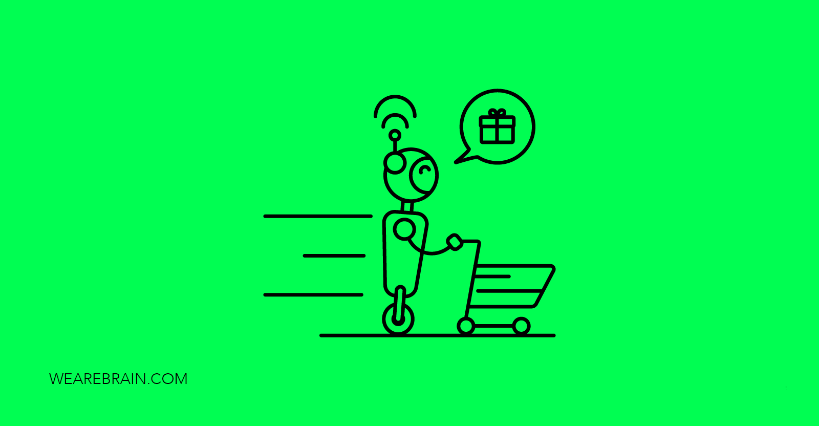 illustration of a robot with a shopping cart