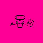 icon of a robot holding a paper and pen