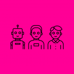illustration of a robot and two men