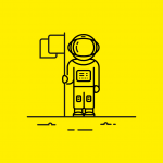 illustration of an astronaut holding a flag