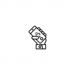 icon of a hand holding an android device
