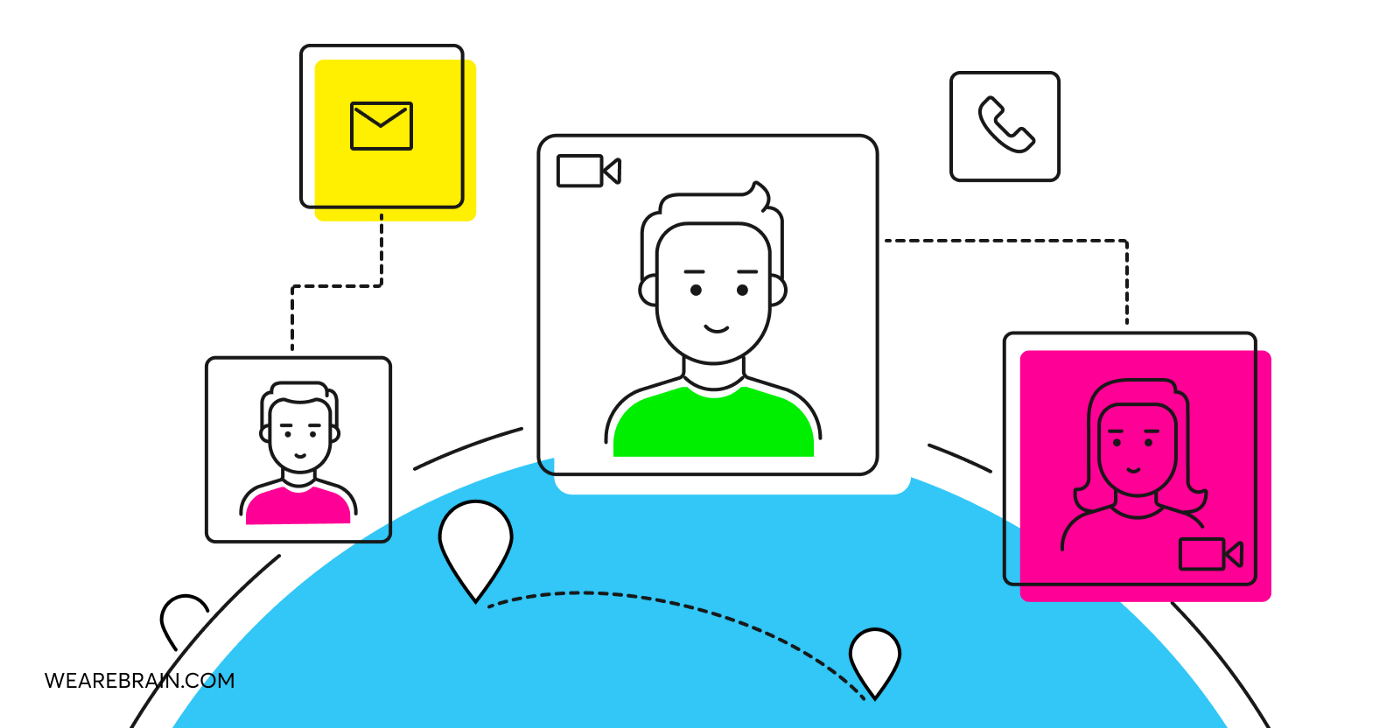 illustration of people connecting through the internet