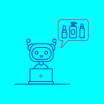 illustration of a robot ordering beauty products on a laptop