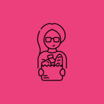 illustration of a woman holding a grocery bag