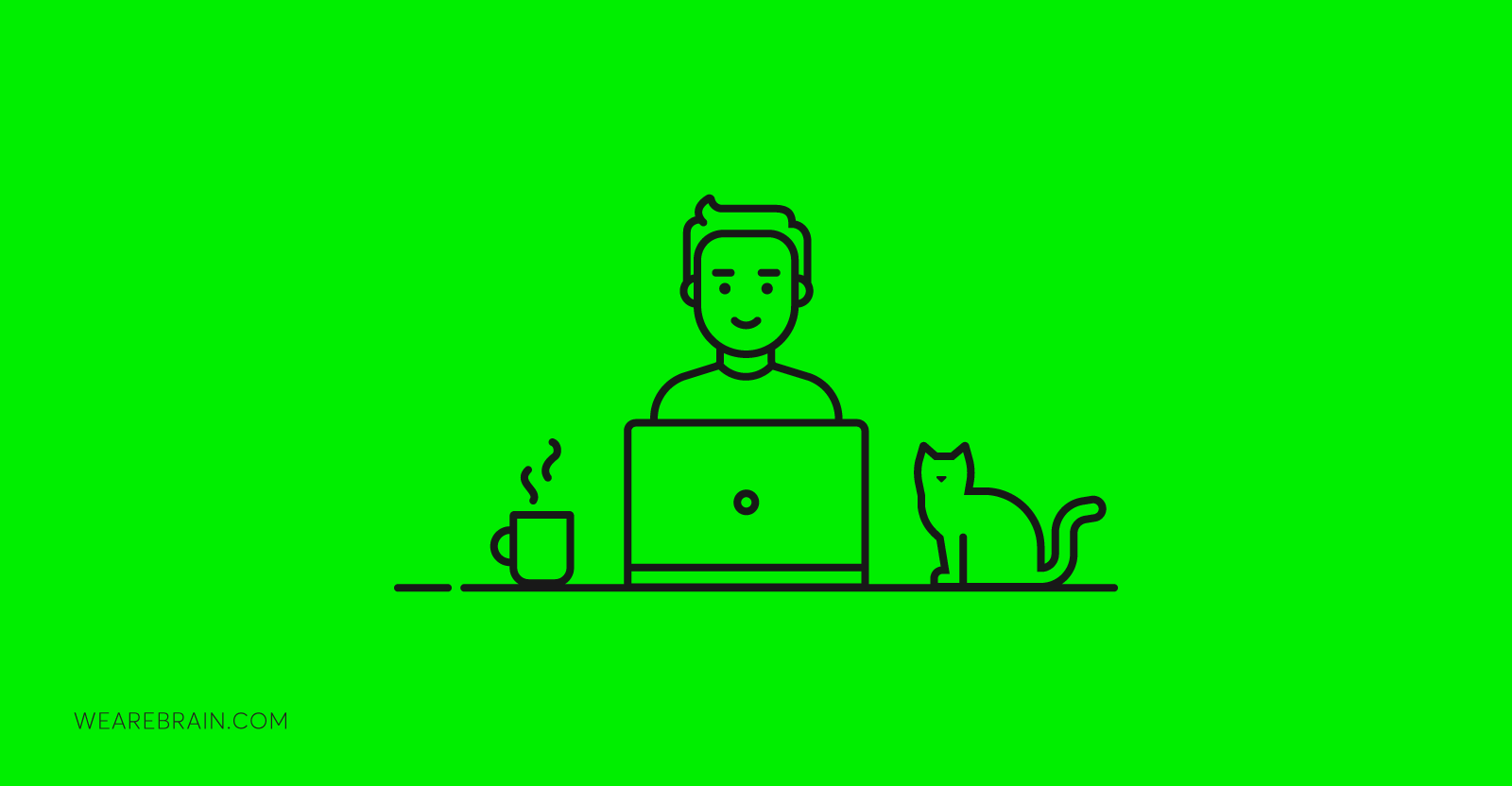 illustration of man with cat