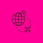illustration showing a globe and an airplane