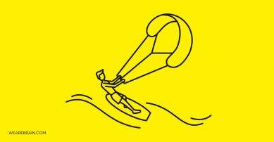illustration of a kiteboarder