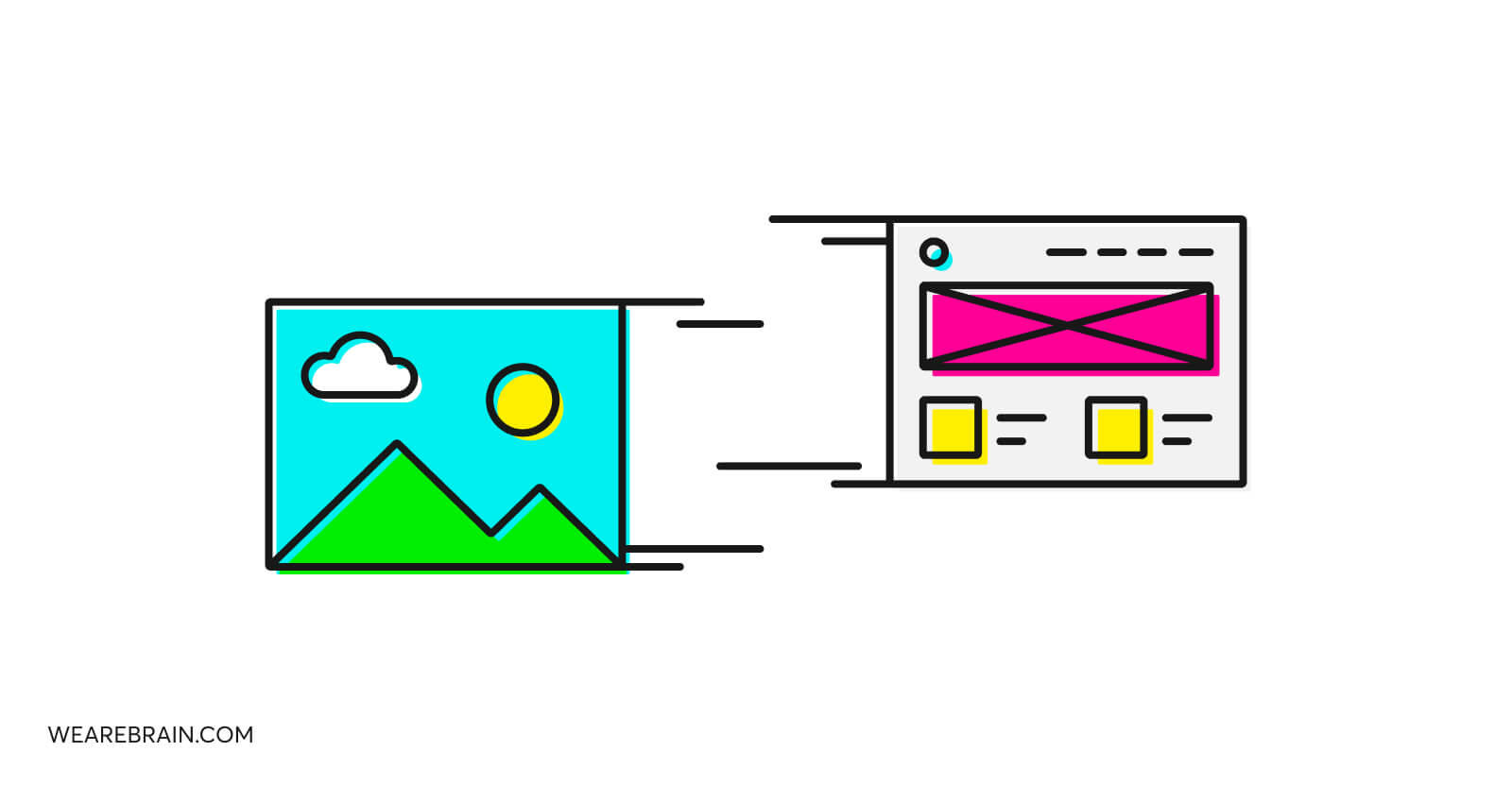 illustrations of two design screens