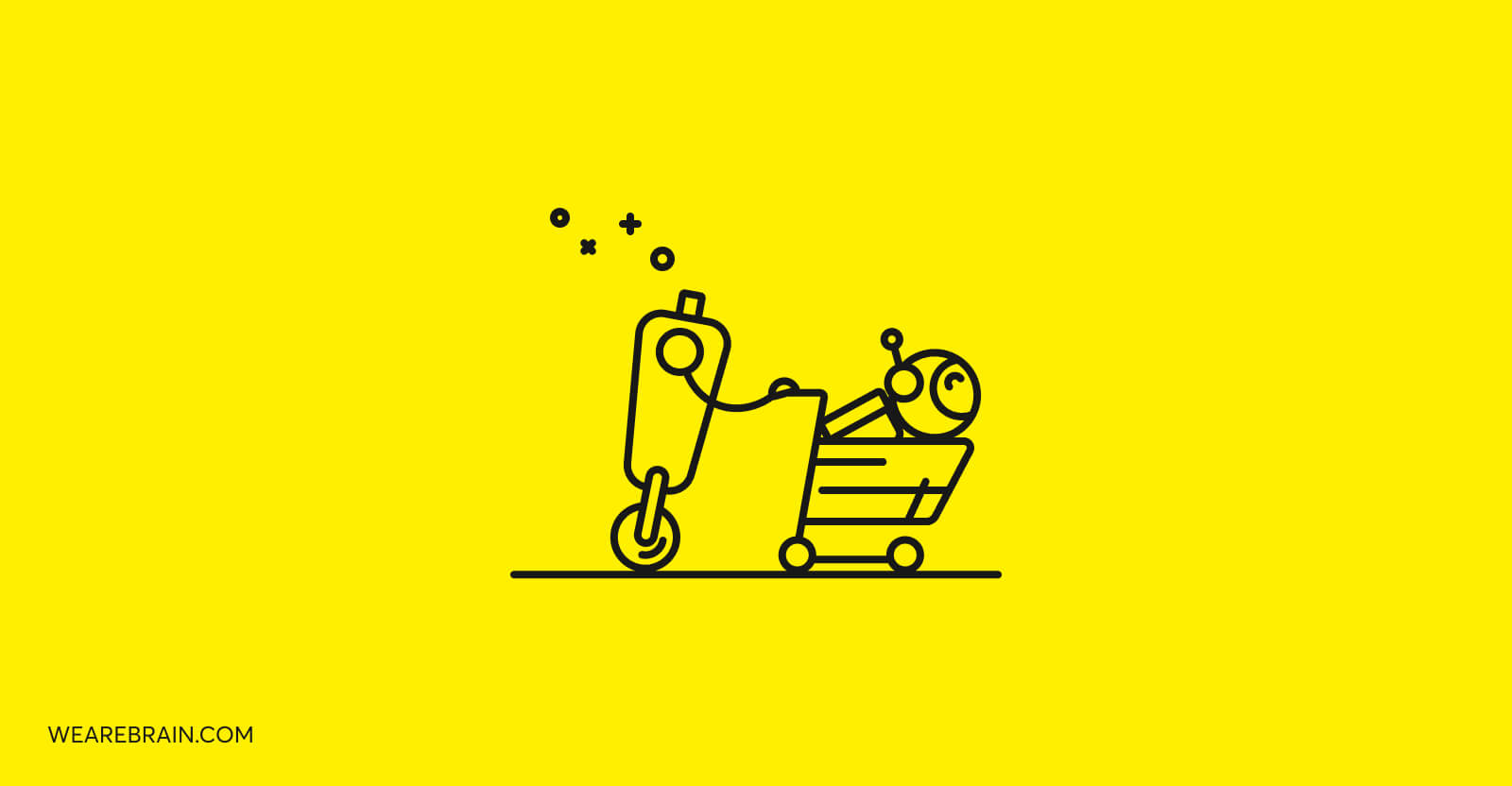 illustration of a headless shopping robot