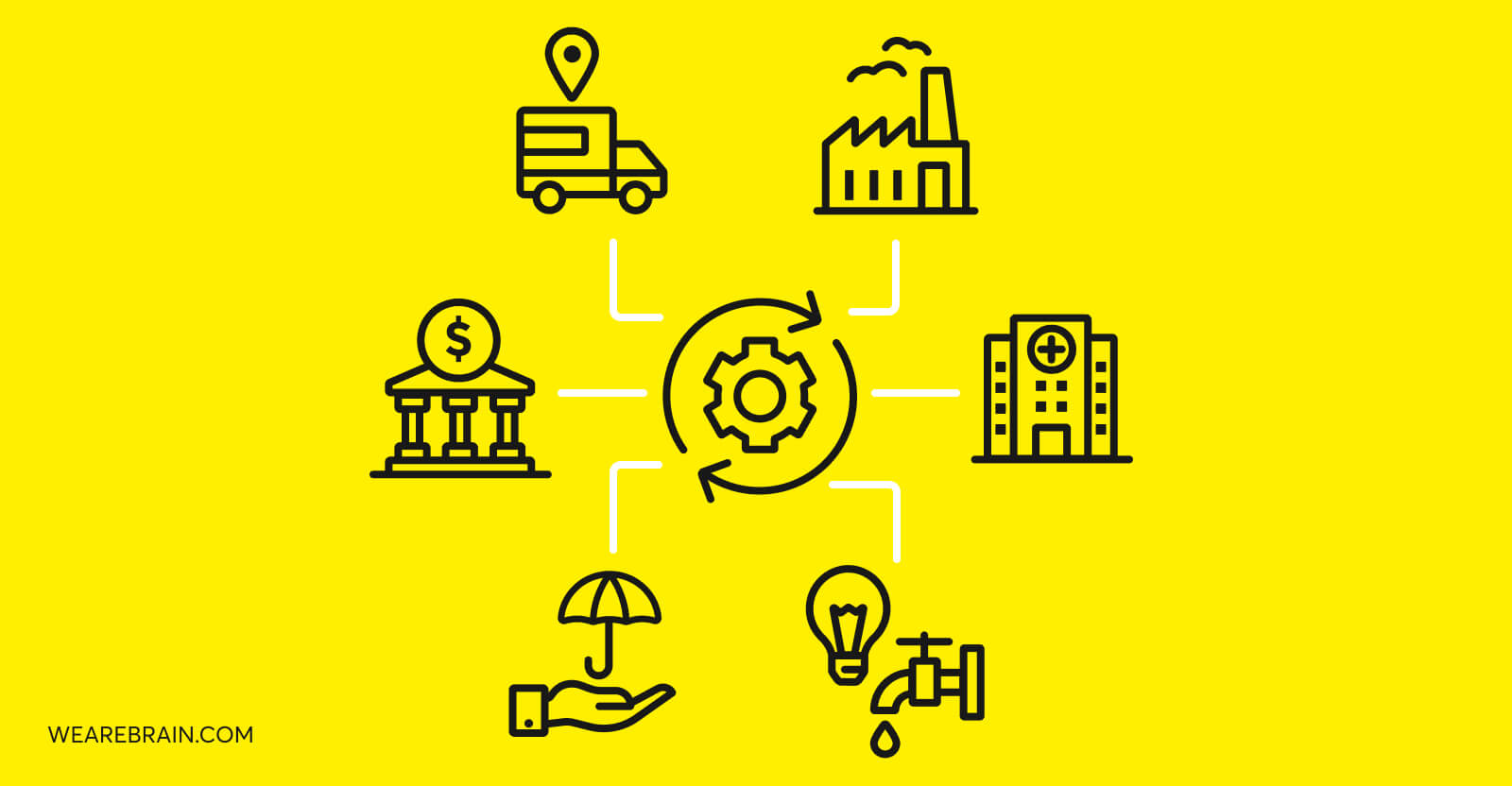 illustration of icons representing different industries
