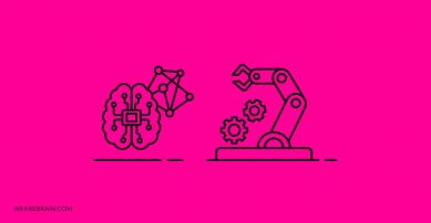 illustraton of a smart brain and a robotic arm