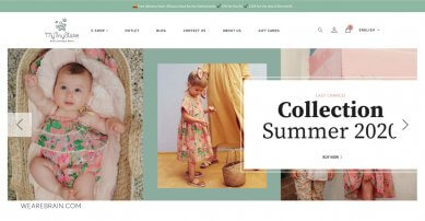 screenshot of a webshop for kids clothes