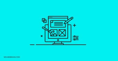icon of a monitor with design elements