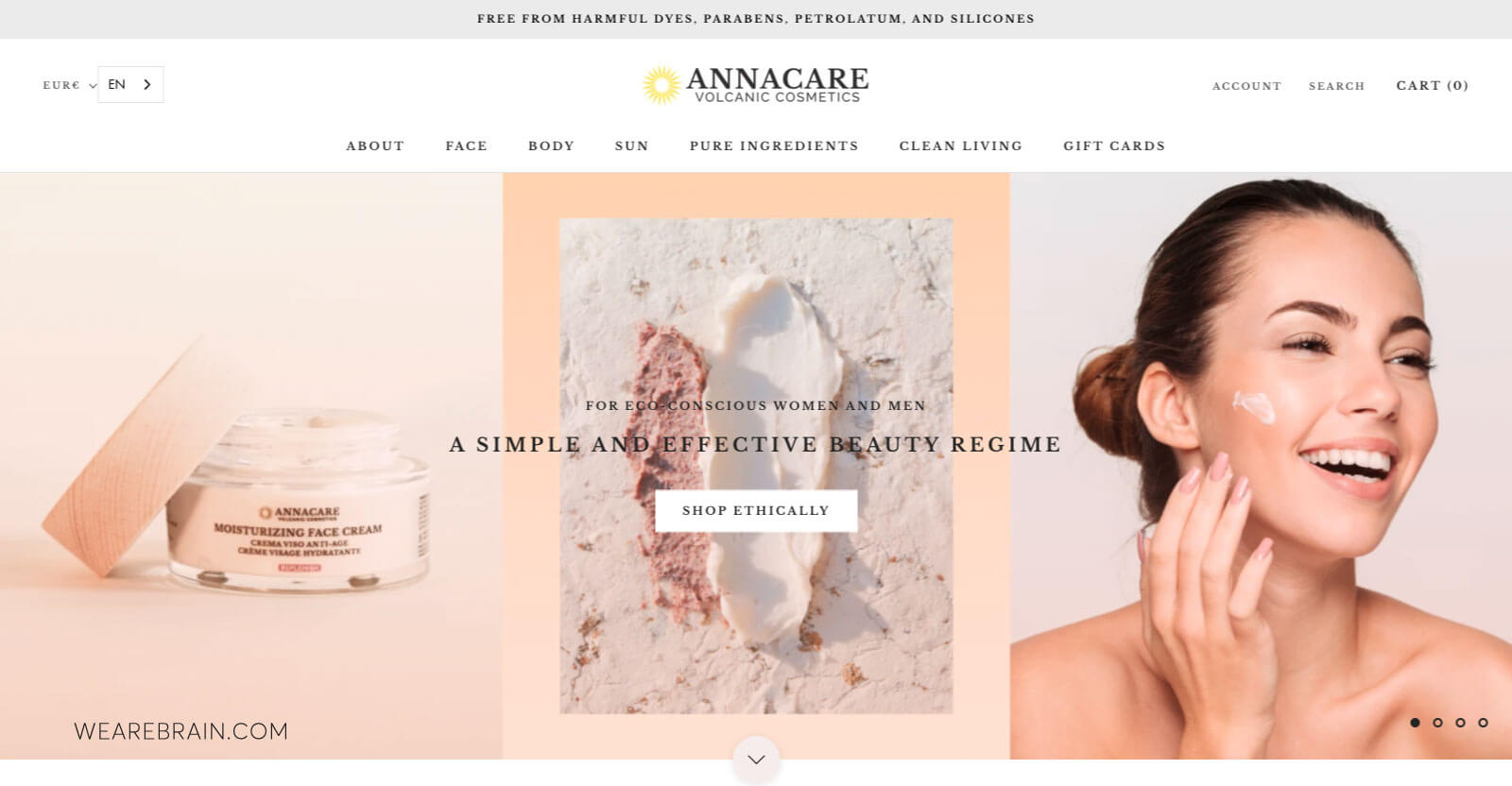 picture of a cosmetics product website