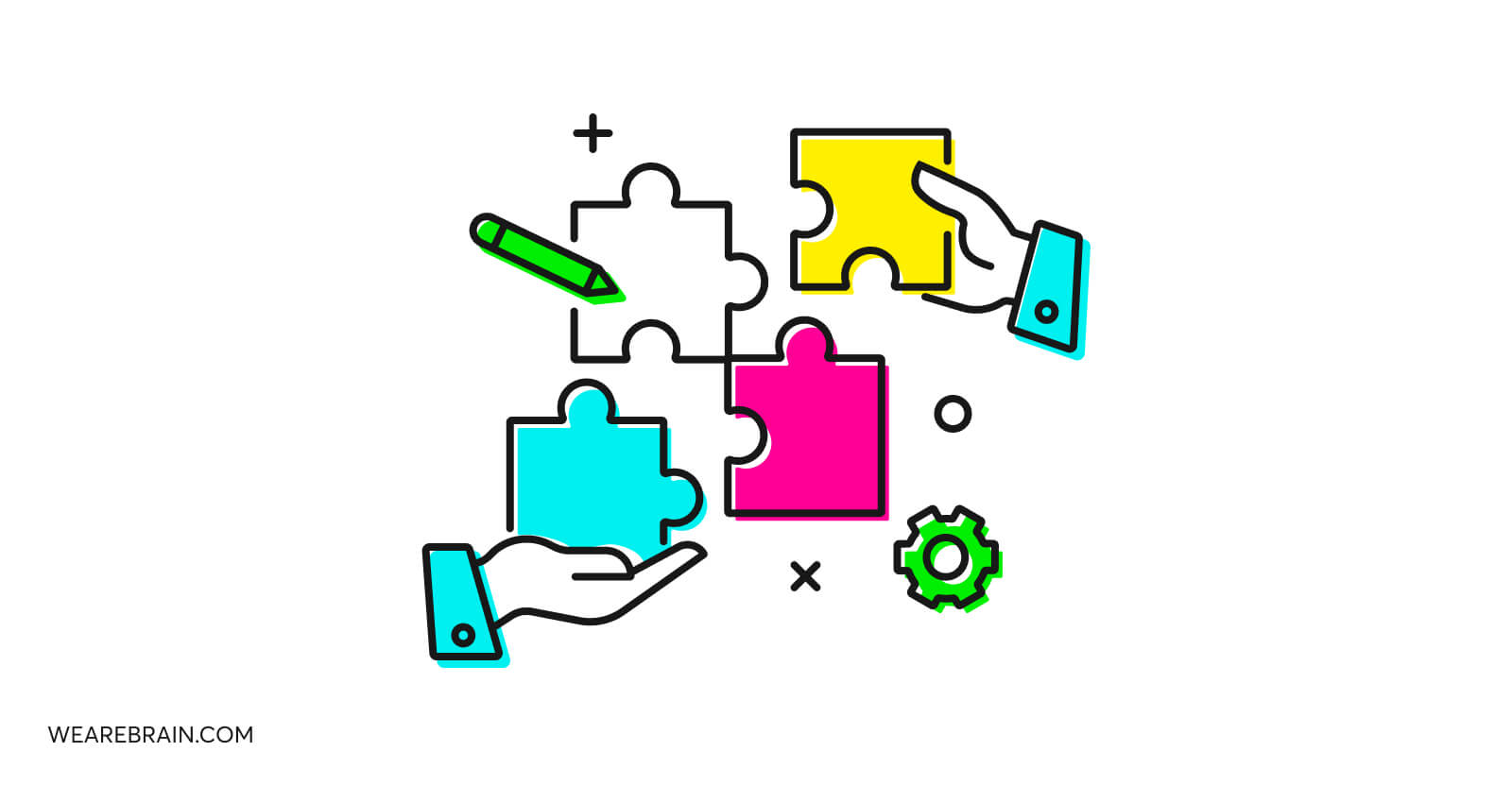 illustration of two hands solving a puzzle