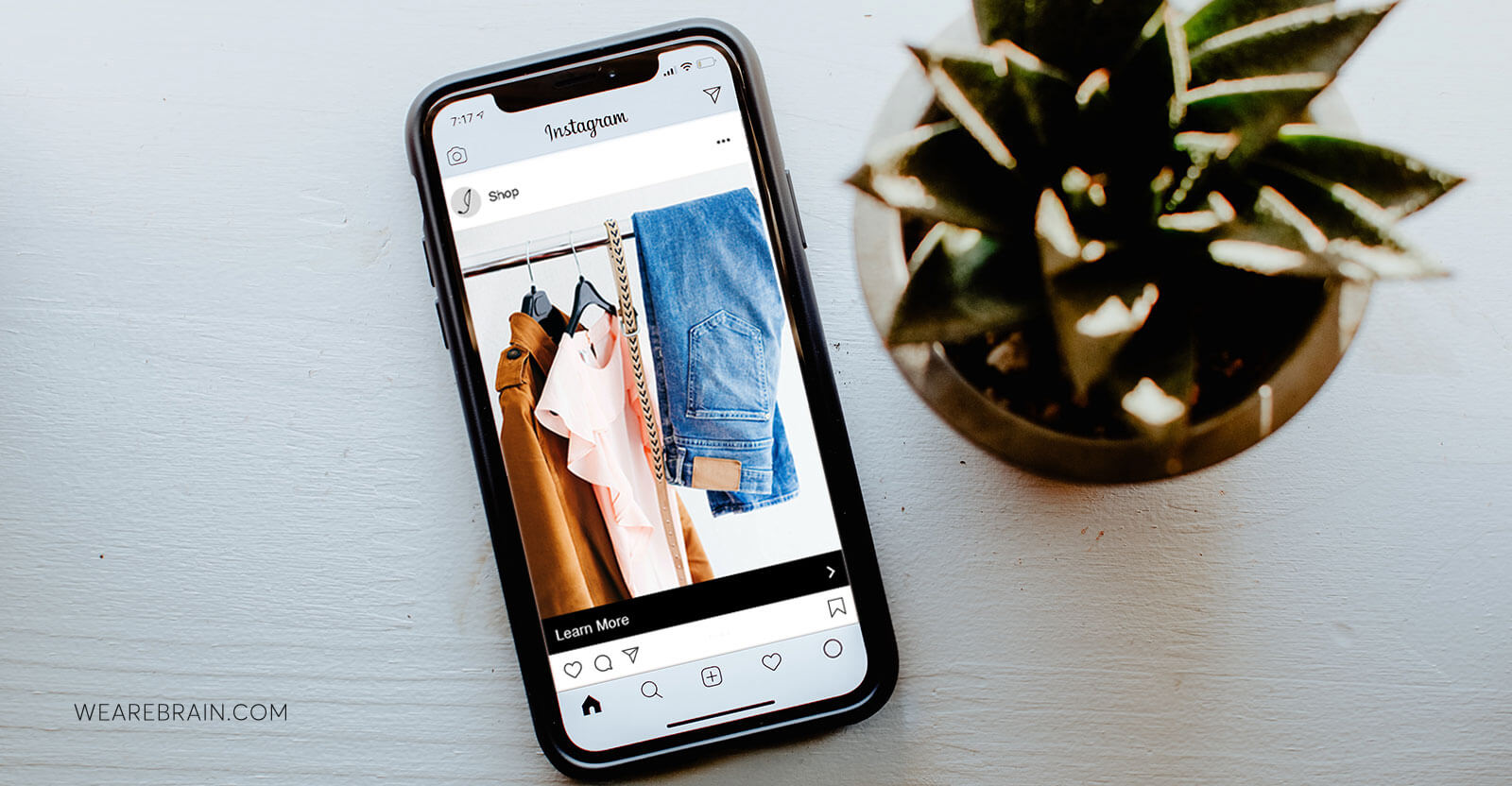picture of a phone showing shopping on Instagram