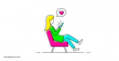 illustration of a girl sitting and looking at the her phone