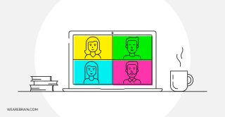 illustration showing a video conference