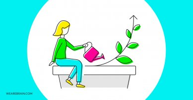 illustration of a woman watering a plant
