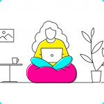 illustration of a women sitting with a laptop