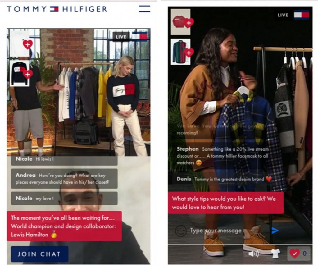 live stream shopping for Tommy Hilfiger